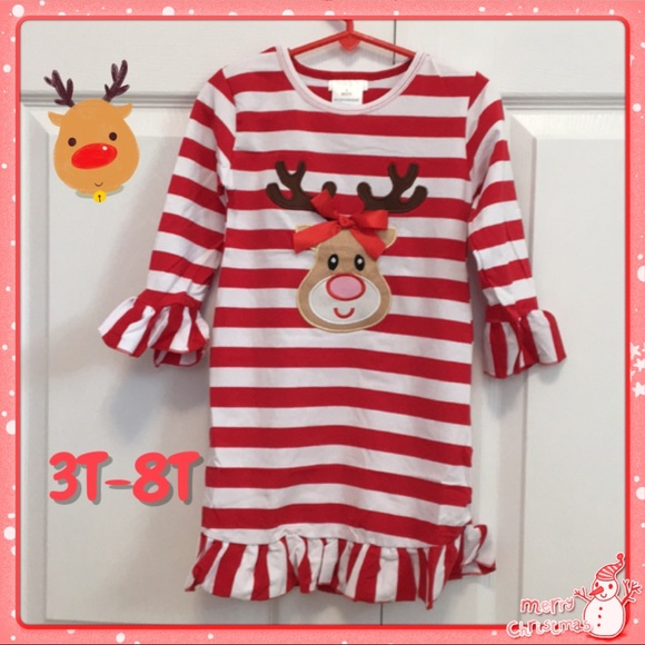 6c8882771 Honeydew USA Dresses | Red And White Striped Reindeer Dress | Poshmark
